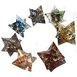 7 Chakra Orgonit Merkaba Set, 7 Orgon-Generator Sterne aus 7 chakra Edelsteinen und Metallen, mit Beutel