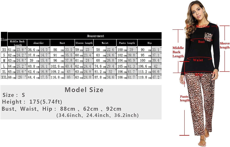 Aibrou Womens Pajamas Set Long Sleeve Sleepwear Soft Pj Lounge Sets Pajamas for Women