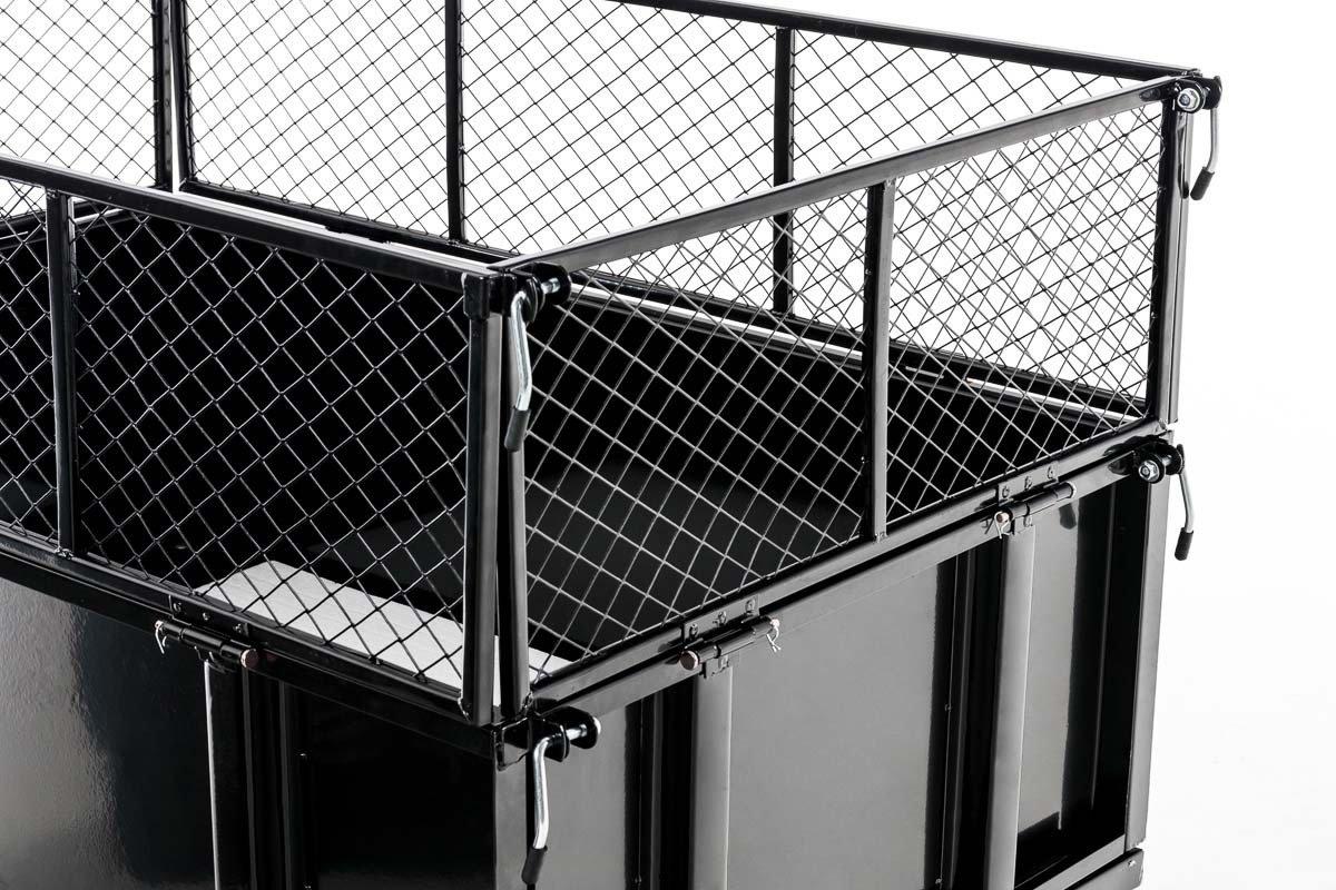 CLP Carrello Rimorchio per Trattorino Tosaerba Ribaltabile I Cassone Ribaltabile a Un ASSE I capacit/à Fino a 300 kg I Gancio di Traino Universale ed Espansione delle Sponde Alta 30 cm Nero