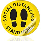 """Social Distancing Floor Decals - 12"""" Round Vinyl Removable Stickers - 10 Pack Safety Floor Signs Marker - Please Keep 6…"""