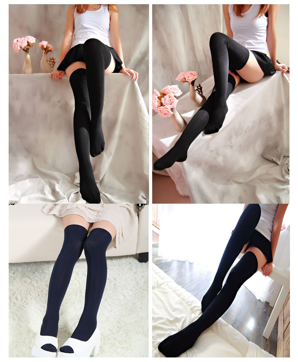Women's Thigh High Stockings Socks of Solid Color Opaque Sexy,Over the Knee High Leg Socks 5-Pairs(Black) by VANGAY (Image #7)