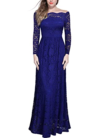 20ca2f6baa37cb Miusol Schulterfrei Spitzen Langes Abendkleid Party Langarm Brautjungfer  Damen Kleid Blau S