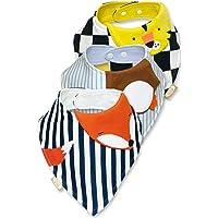 Baberos para Bebe 3 Pack de Animalitos Zorro Pinguino Tigre Tipo Bandana Unisex para Niño y Niña Hecho de 100% Algodon