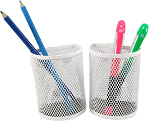 Half Moon Mesh Wire Pen Pencil Holder Magnetic 3.7 x 2.8 White (Set of 2)