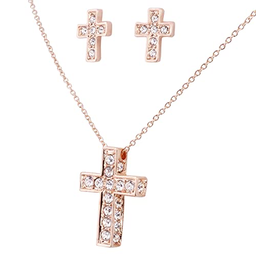 Girl Cross Necklace - Rose Gold Plated Pendant and Stud Earrings Set for Kids and Children