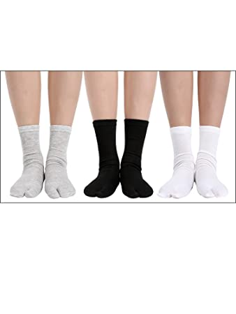 6 Pares de Tabi Unisex Calcetines de Chanclas Calcetines Geta Calcetines Tabi de Dedos Separados Elásticos para Mujeres y Hombres (Negro, Blanco y Gris): ...