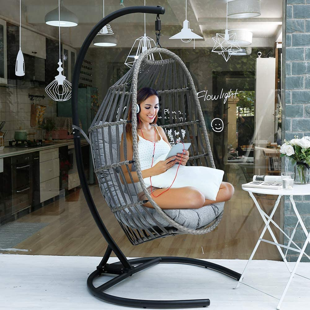 Amazon Com Motrip Wicker Rattan Swing Chair Hanging Chair Outdoor Patio Porch Lounge Egg Chair With Stand In Black Olefin Fabric Cushion Furniture Decor