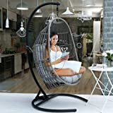 MOTRIP Wicker Rattan Swing Chair, Hanging Chair, Outdoor Patio Porch Lounge Egg Chair with Stand in Black, Olefin Fabric…