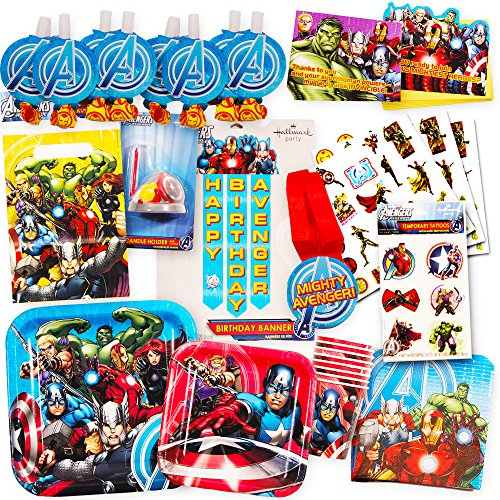 Marvel Avengers Party Supplies Ultimate Set (85 Pieces) -- Party Favors, Birthday Party Decorations, Plates, Cups, Napkins, Invitations and (Avengers Party Favours)