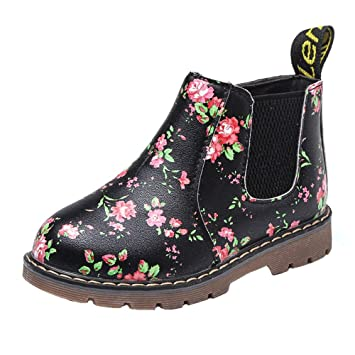 FOANA Children Fashion Boys Girls Unisex Sneaker Boots Autumn Winter Warm  Thick Baby Kids Casual Floral Printing Zipper Up Shoes Leather Snow Shoes   ... df4b6c70fe2e