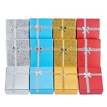 BENECREAT 12 Pack Caja de Regalo Joyero para Aniversarios, Bodas, Cumpleanos, 4 Colores Surtidos -8.7X 6.7 x 2.5cm