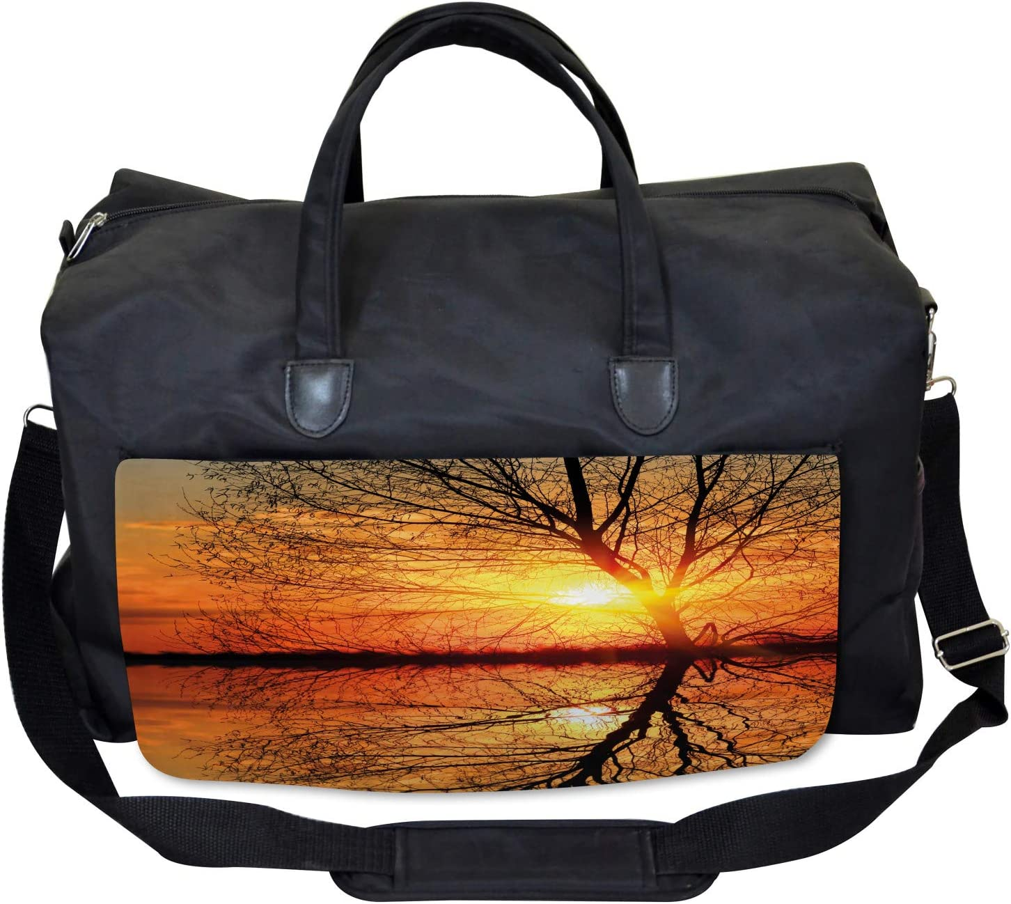 Large Weekender Carry-on Sunset View with Trees Ambesonne Autumn Gym Bag