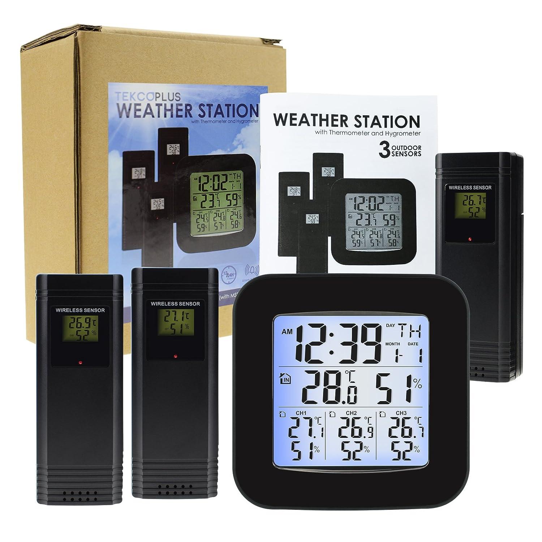 Facile Da Leggere Display Con LED Backlight Orologio Umidit/à Temperatura Allarme Stazione Meteo Wireless Con 3 Sensori Esterni Wireless