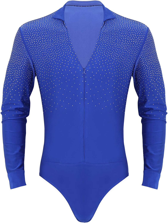 YiZYiF Mens Sparkle Rhinestones V Neck Zipper Ballet Latin Tango Dance Leotard Shirt Bodysuit Dancewear