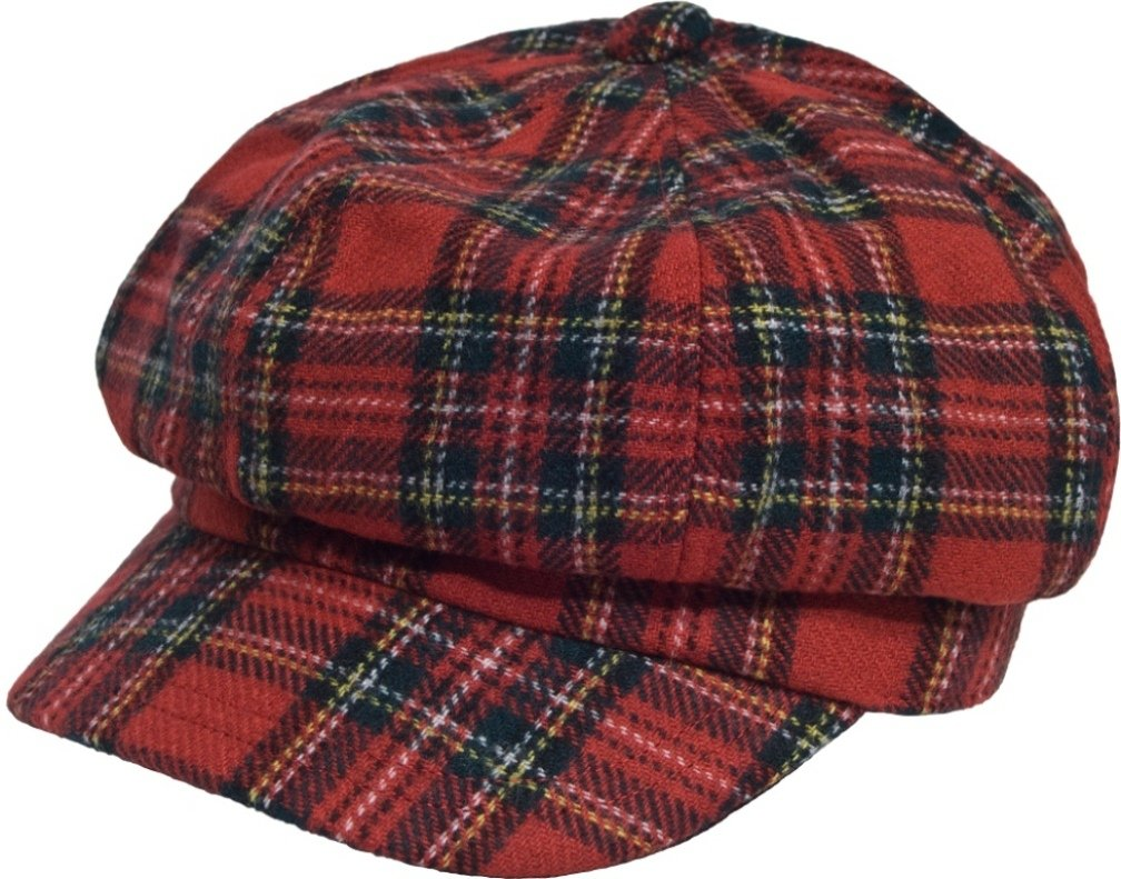 San Francisco Hat Company Women's Newsboy Wool Cap One Size Red Tartan Plaid