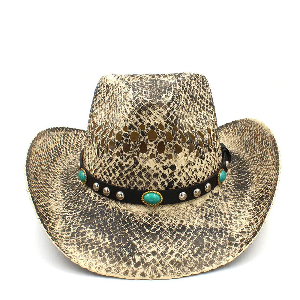 Women Men Straw Western Cowboy Hat Handmade Weave Lady Dad Sombrero Hombre Cowgirl Jazz Caps Punk (color   Natural, Size   58cm)