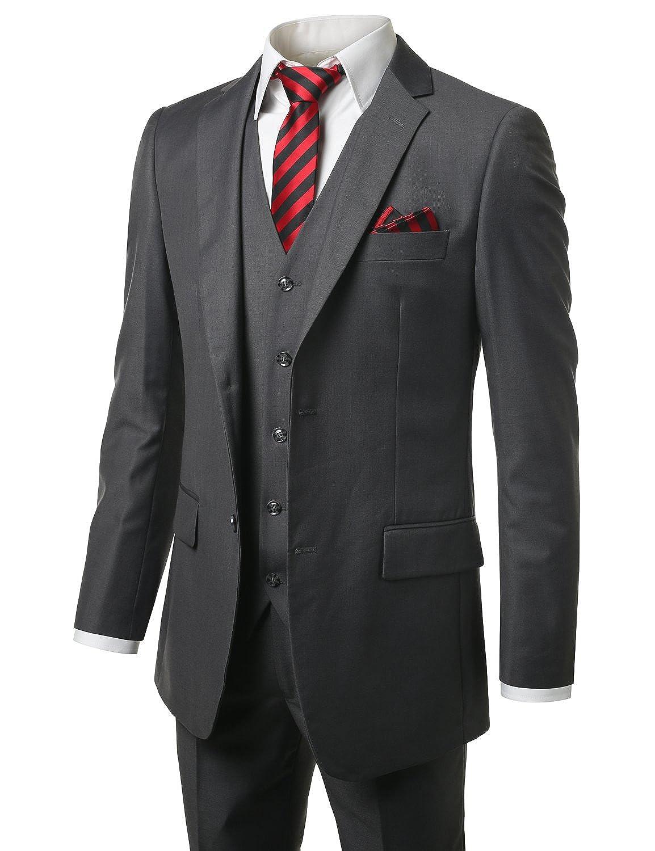 MONDAYSUIT Men's Modern Fit 2 or 3 Piece Suit Blazer Jacket Tux Vest & Trousers