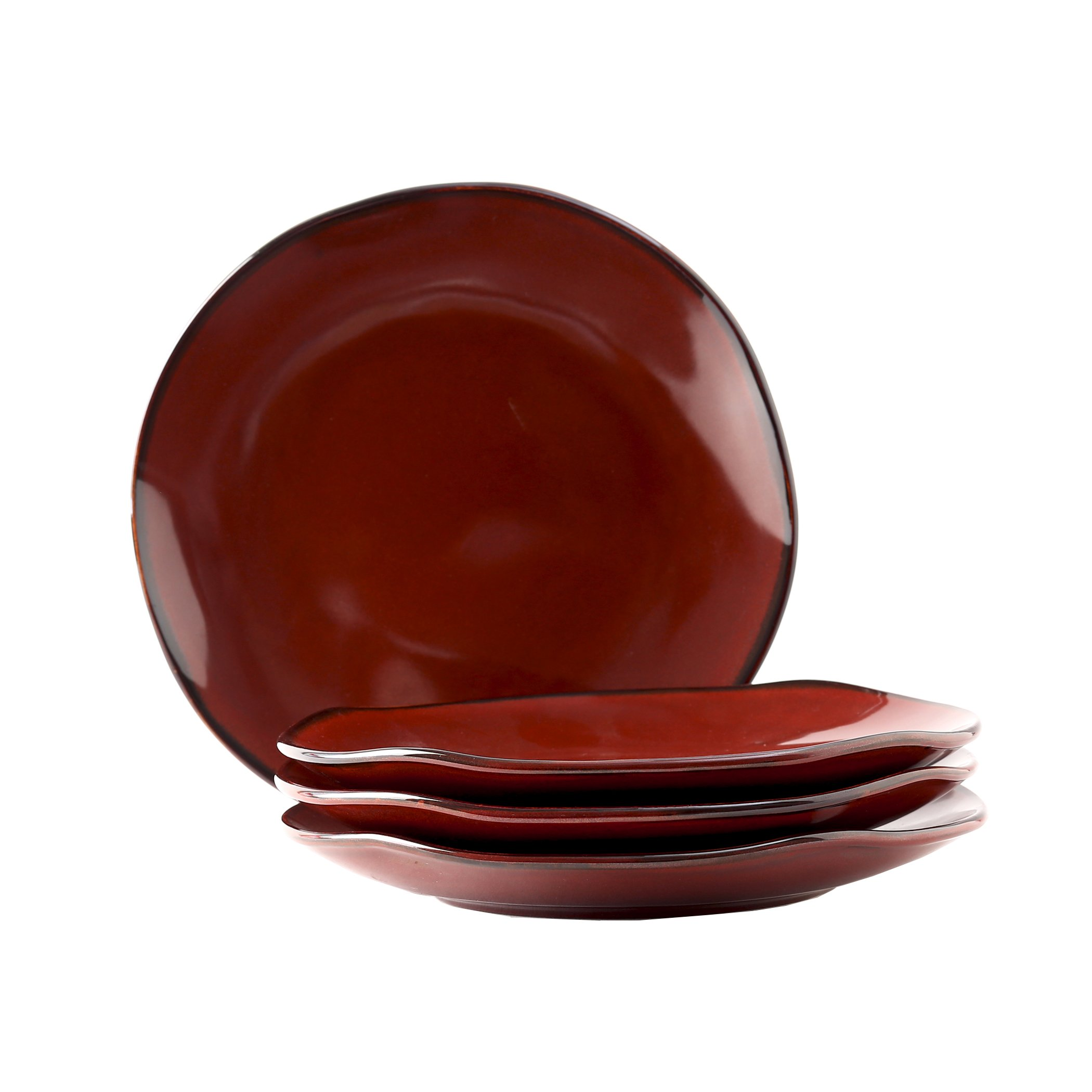 Tuxton Home Artisan Red Rock 10-1/4'' Round Reactive Glaze Dinner Plate - Set of 4; Heavy Duty; Chip Resistant; Lead and Cadmium Free; Freezer to Oven Safe up to 500F