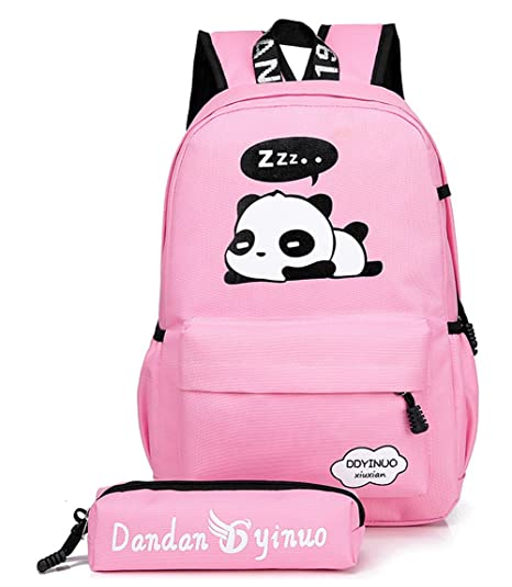 131aa70d67 Nawoshow Cute Panda Backpack Lightweight Casual Canvas School Backpacks  Book Bag (Pink)