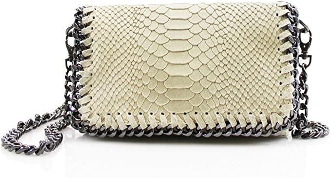 NEW Exclusive Python Embossed Genuine Leather Shoulder Evening Clutch SALE