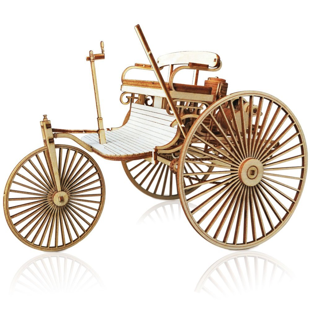 3D Mechanical Wooden Puzzle - Benz Patent Motorwagen Wood Model Car - Brain Teaser DIY Construction Toy Set for Kids, Adults