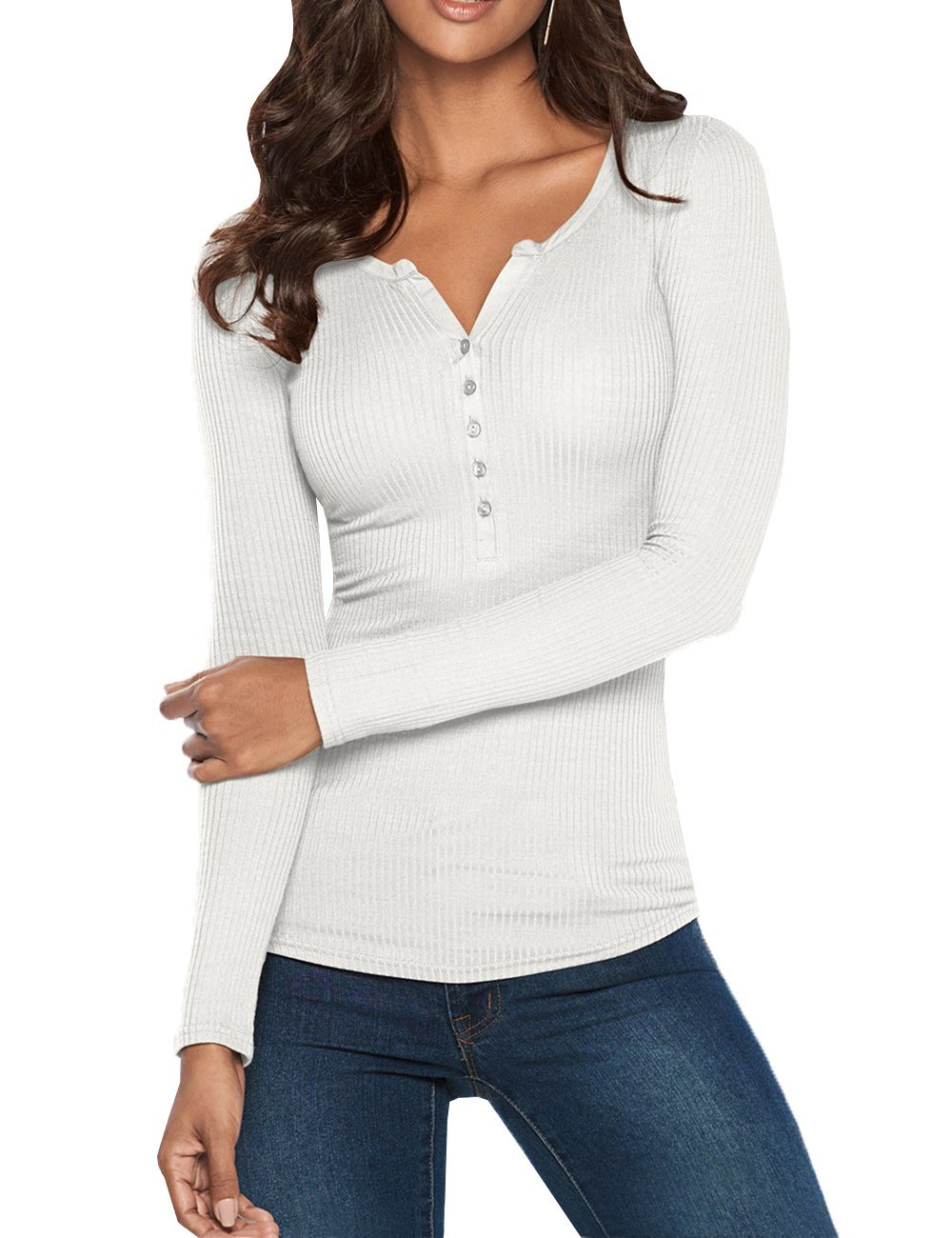 Pxmoda Womens Causal Button V Neck Henley T Shirts Autumn Long Sleeve Bodycon Ribbed Blouse Tops (M, White)