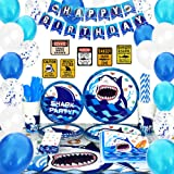 WERNNSAI Shark Party Supplies Set - Blue Ocean Pool Party Decorations for Boys Kids Birthday Banner Signs Balloons Cutlery Ba