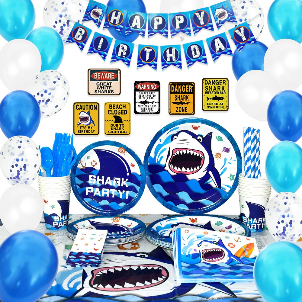 WERNNSAI Shark Party Supplies Set - Blue Ocean Pool Party Decorations for Boys Kids Birthday Banner Signs Balloons Cutlery Bag Tablecloth Plates Cups Napkins Straws Utensils Serves 16 Guests 175 PCS by WERNNSAI