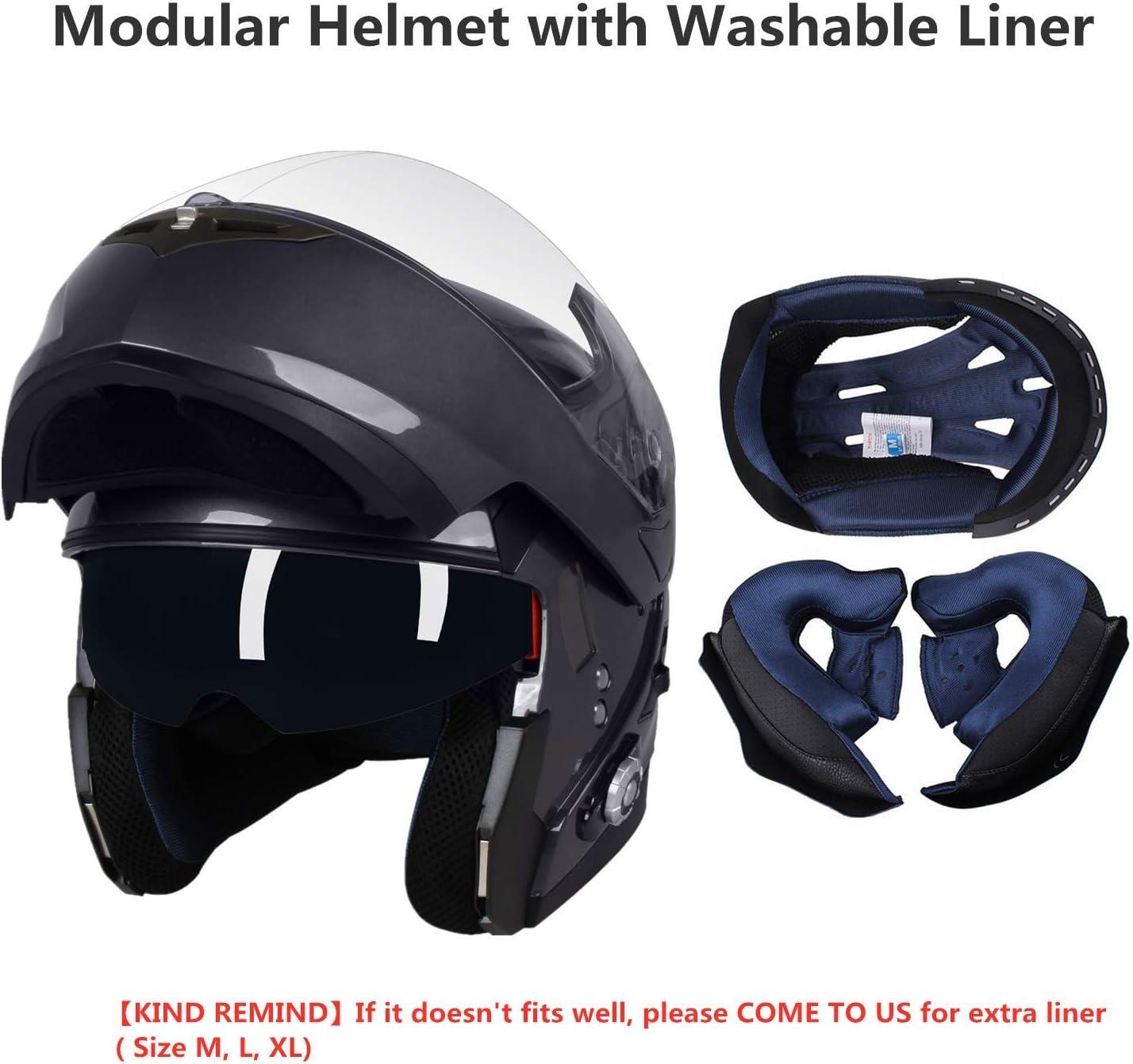 FreedConn BM2-S Flip Up Modular Bluetooth Motorcycle Helmet Voice Dial//Hands-Free Call// 500M// 2-3 Riders// MP3// FM//DOT Motorcycle Helmet with Bluetooth 3.0 Motorcycle Bluetooth Helmet