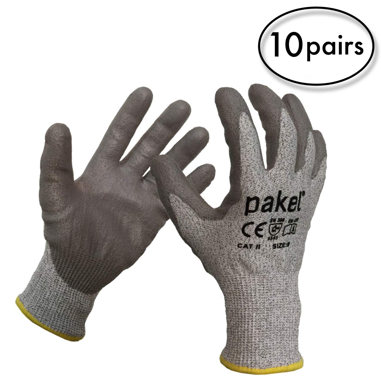 Pakel High Performance En388 CE Level 5 Cut Resistant Knit Wrist Gloves (Size 9 / Large / 10 Pairs) by Pakel (Image #2)