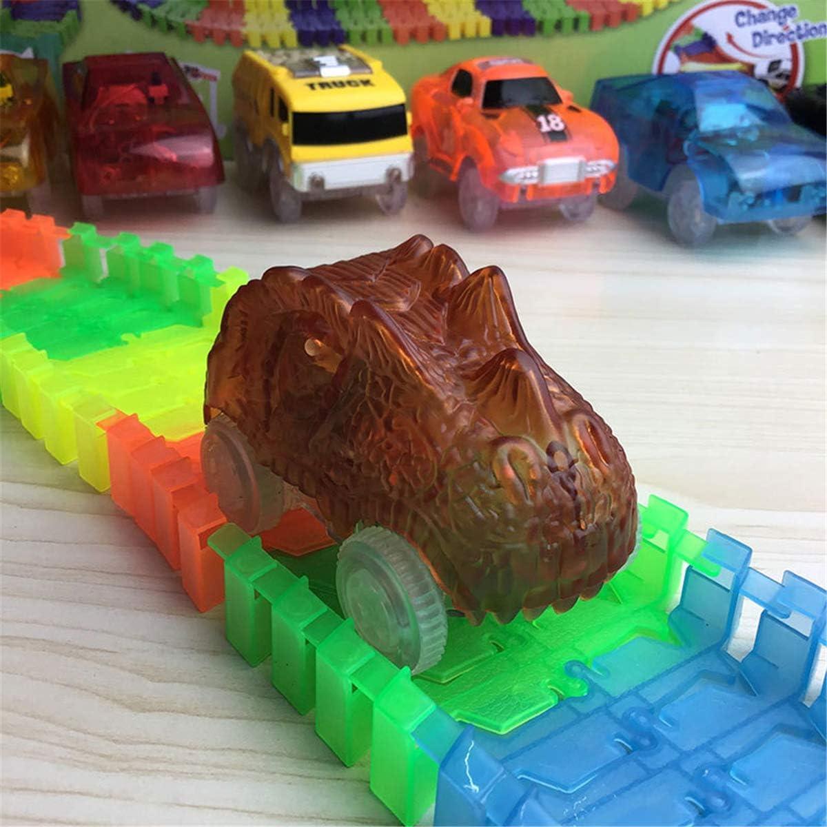Vuev Dinosaur Track Cars Kompatibel mit Magic Tracks und Neo Up Racing Track Zubeh/ör mit 3 blinkenden LED-Leuchten