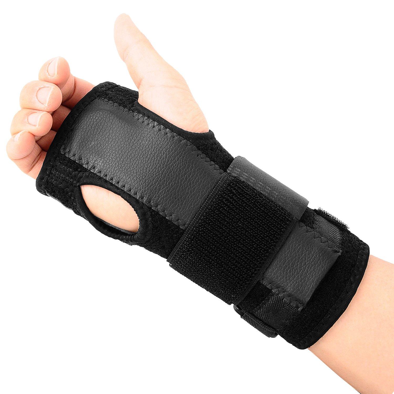 EXski Removable Wrist Hand Splint Palm Support Brace Carpal Tunnel Arthritis Night Wear for Both Right Left Hand 1 Piece