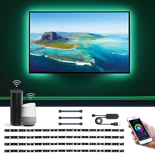 LE 2M Luces de Tira LED WiFi(Solo 2,4 GHz), Tira TV USB 50LM, Control
