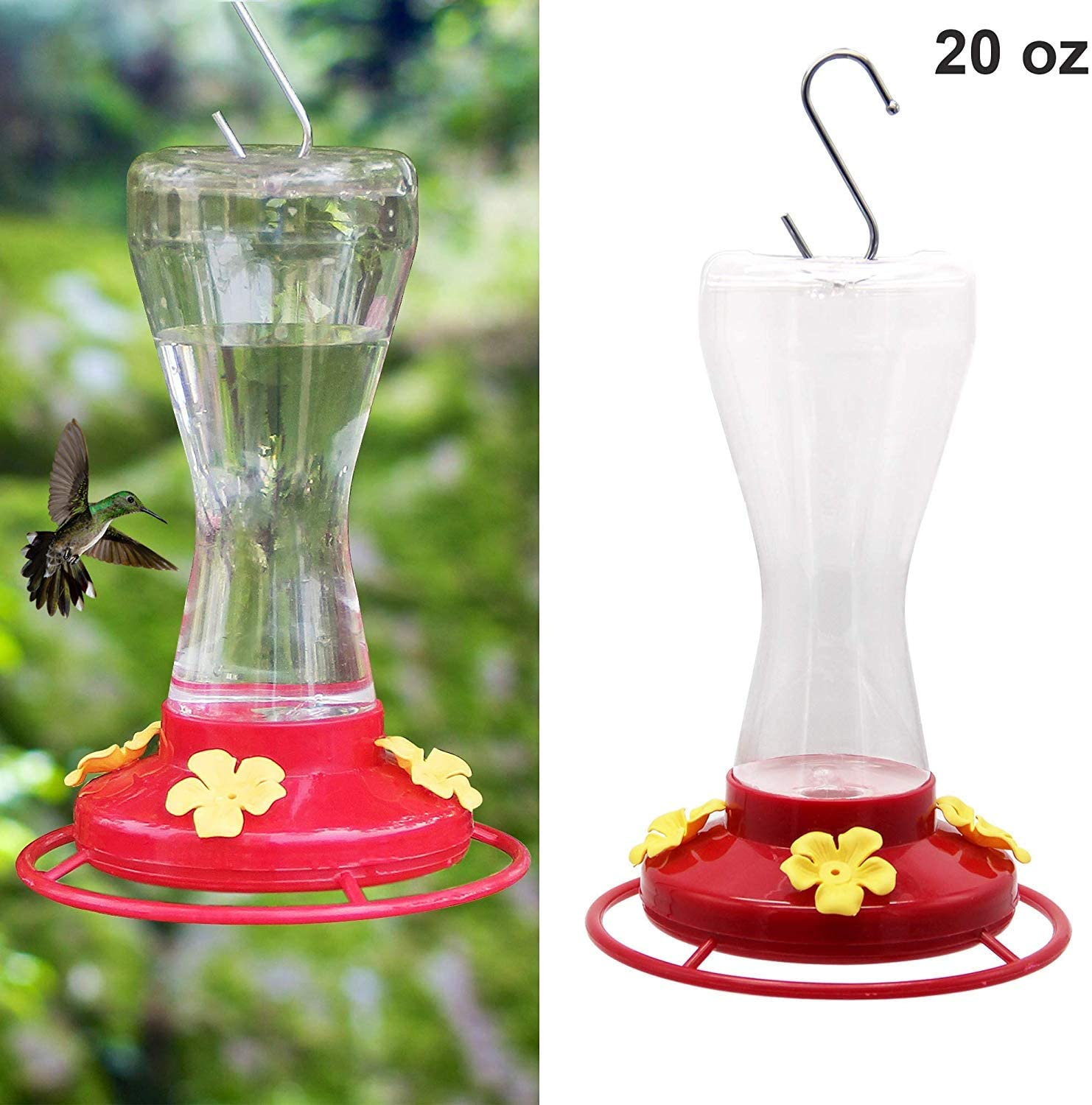 Twinkle Star Hanging Hummingbird Feeder for Outdoors with 4 Feeding Ports, 20 Ounce