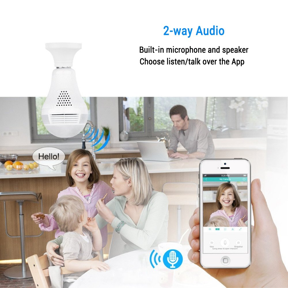 360 Degree Panoramic Camera WiFi IP Bulb Camera 960P Fisheye Lens Home Security Camera System Wireless Camera for Kids & Pets Monitor with iOS/Android App Easy Installation for Large Area Monitoring by Mykit (Image #4)