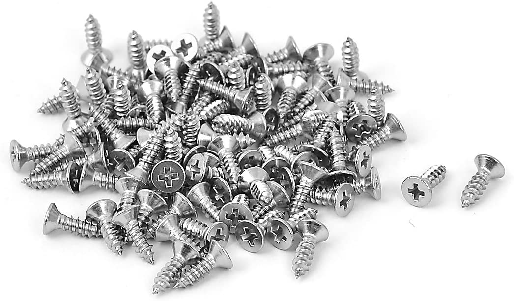 uxcell M2.9x9.5mm Countersunk Cross Head Self Tapping Screw Fasteners 100 Pcs