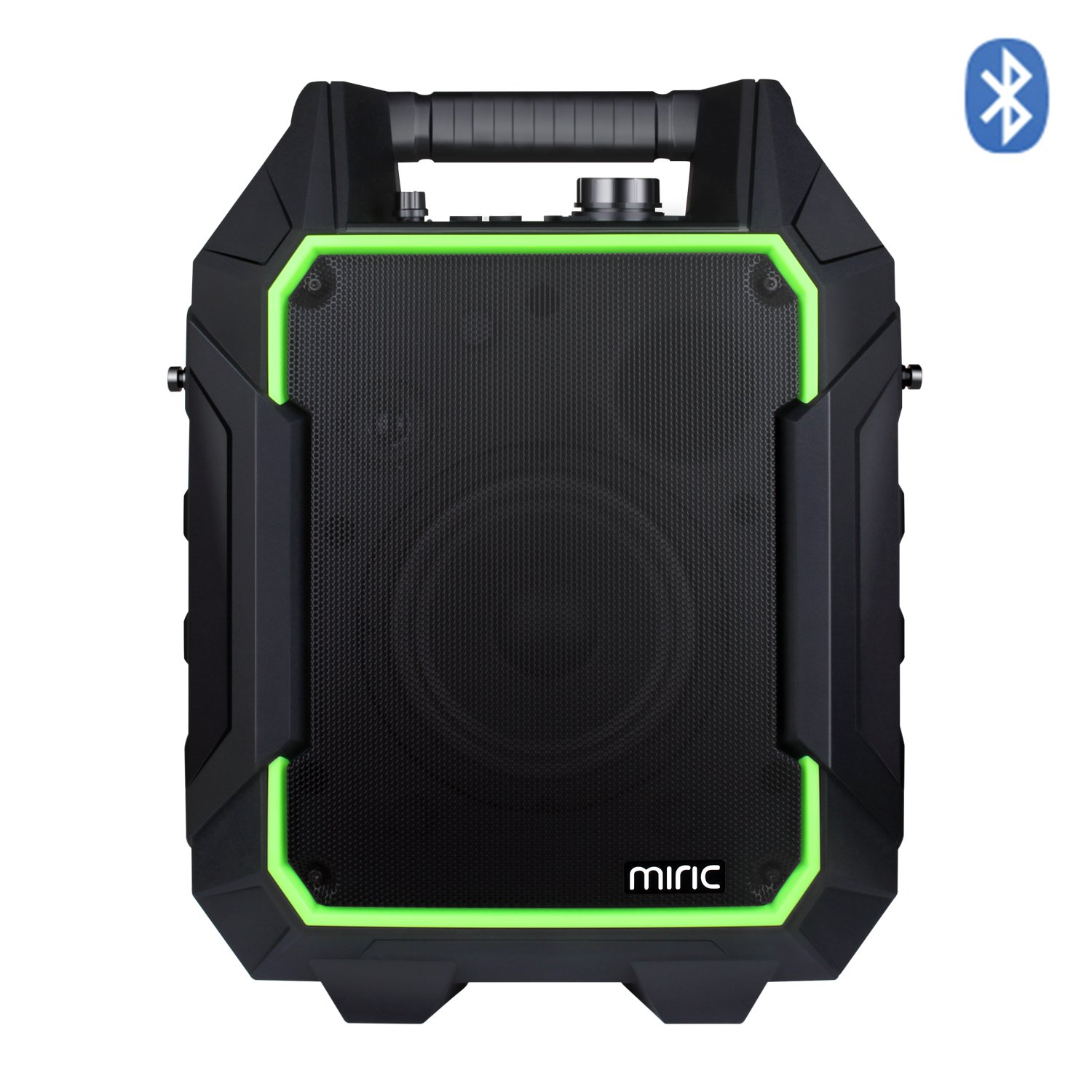 Miric Portable PA Speaker Bluetooth 60W, Outdoor Speaker 60 hours Playing Time with NFC / USB Charge Port / 3.5mm Interface / SD / FM Radio for Mic, Guitar, and Party, Gatherings, Dance, Rechargeable.