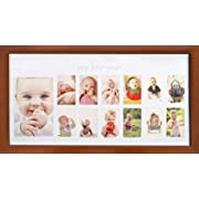 Baby's First Year Frame in Elegant Brown Natural Wood - My First Year Baby Picture Frame for Photo Memories