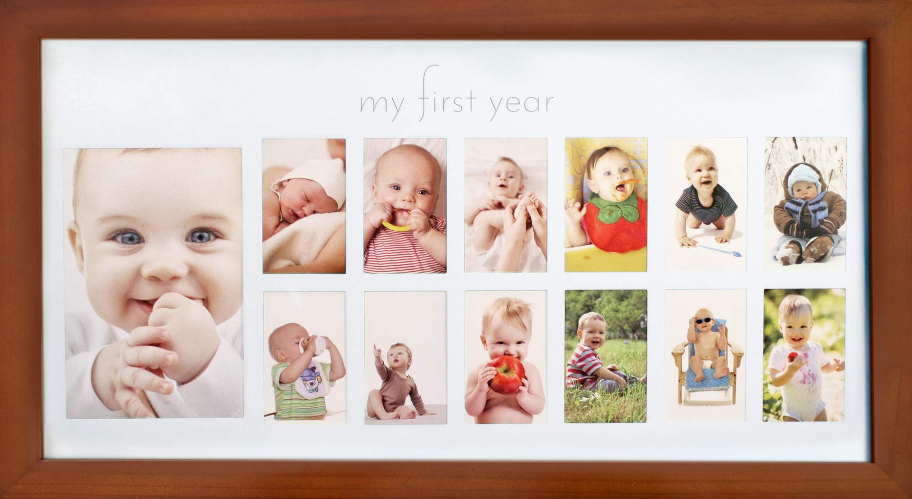 Babys First Year Frame in Elegant Brown Natural Wood My First Year Baby Picture Frame for Photo Memories