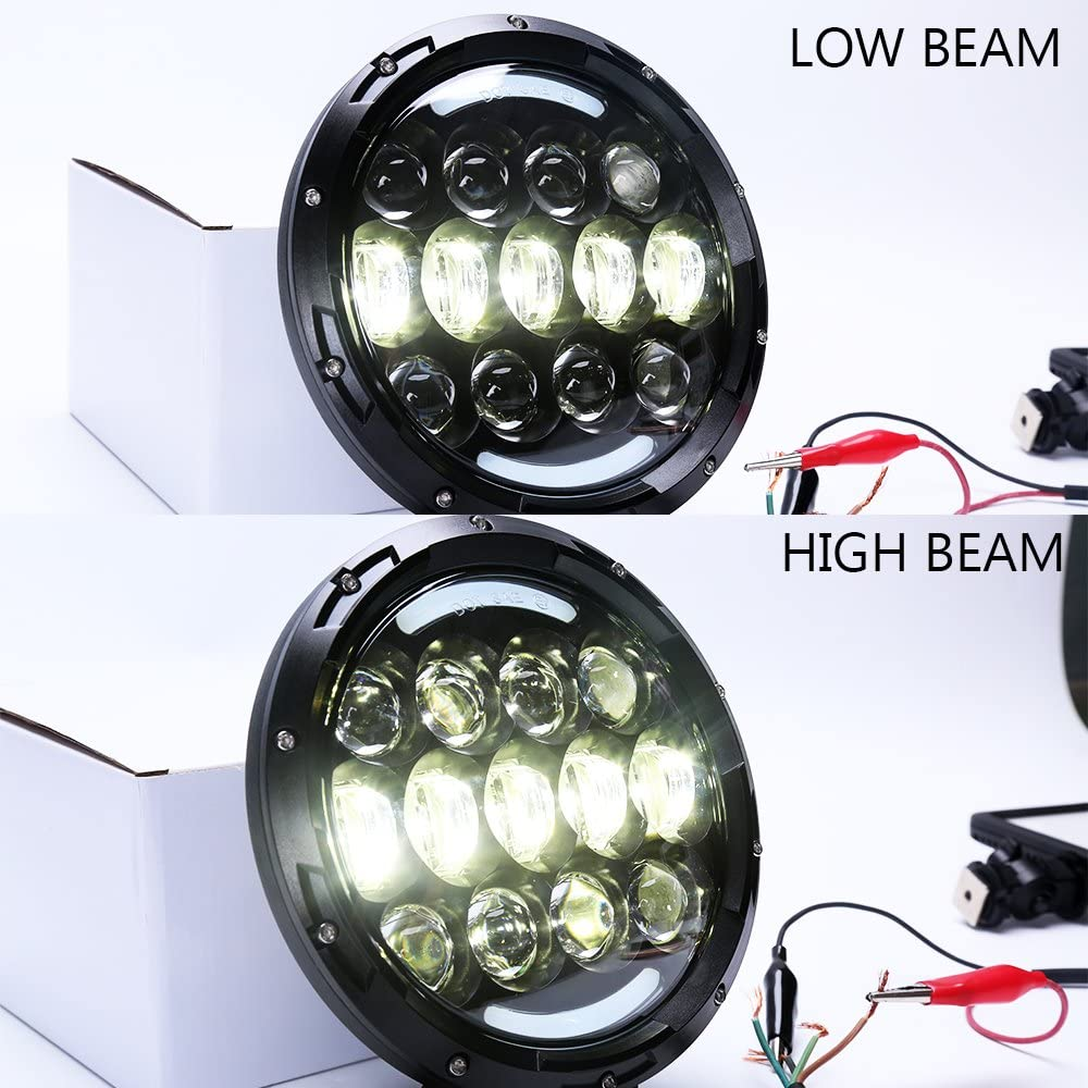 2Pcs 7 Inch Round LED High//Low Beam Work Light Off Brightest Driving Lights 105W