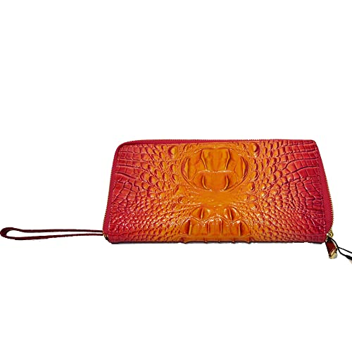Amazon.com: Brahmin Skyler Croco Emb leather Lg Clutch ...
