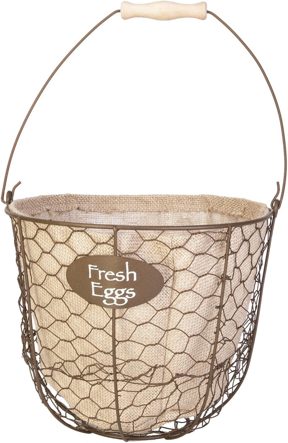 Panacea 086339 Egg Gathering Basket Burlap Liner planters Garden Accessories, 10 in. Dia x 8 in. D, Rustic Brown