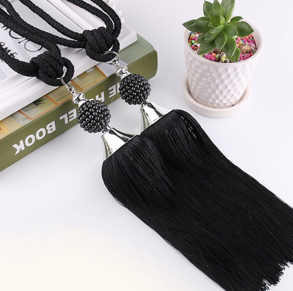 leoyoubei 1 Pair 30'' Beaded Tassels Curtain Tiebacks Rope Holdbacks For Thick curtains or screens,for Home Bedroom, office or school decoration -Black A