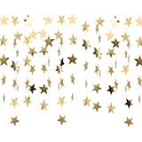 Whaline 52 Feet Reflective Star Paper Garland Sparkling Star Bunting Banner for Christmas Deccoration Wedding Birthday Party Holiday Decorations, 2.75 Inches (Gold)