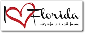 I Love (Heart) Florida, It's Where I Call Home Car Magnet US State Flag Refrigerator Locker SUV Heavy Duty Waterproof