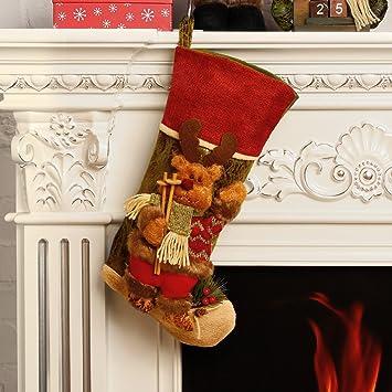 codream 18 classic christmas stockings felt applique dcor stocking xmasdecor - Classic Christmas Stockings