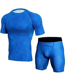 bd06875464 FITIBEST Hombre 2 Piezas Conjunto de Ropa Deportiva Camiseta de Compresión  Manga Corta y Pantalones para