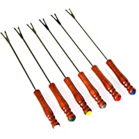 """6pc ALAZCO Color Coded 9.5"""" Stainless Steel Fondue Forks - Cheese, Fruit, Chocolate Fountain, Marshmallow, Shrimp, BBQ Meat"""