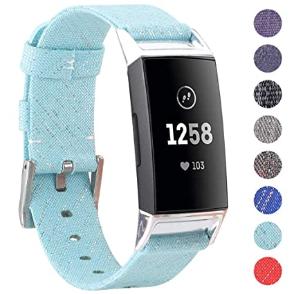 EZCO Bands Compatible with Fitbit Charge 3, Woven Fabric Breathable Watch  Strap Quick Release Replacement Wristband Accessories Man Woven Compatible