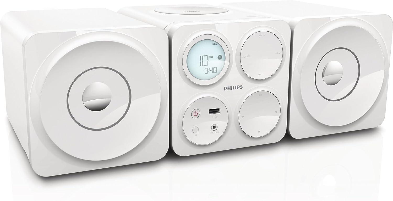 Philips - Microcadena (Microcadena de música para uso doméstico, Blanco, 10 W, FM, Blanco, LCD)